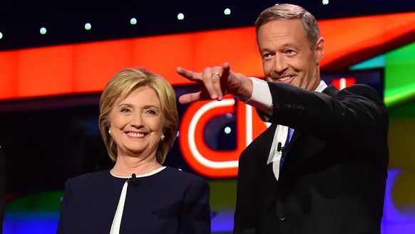 Hillary Clinton and Martin O'Malley at an Oct. 13,