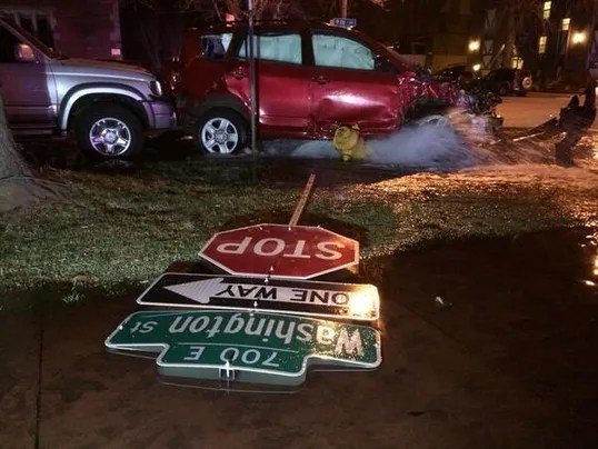 fire hydrant hit