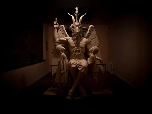 Statue of Baphomet, a goat-headed deity.