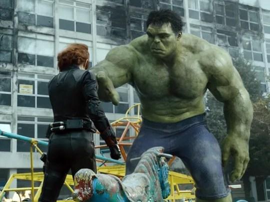 Hulk (Mark Ruffalo, right, with Scarlett Johansson)