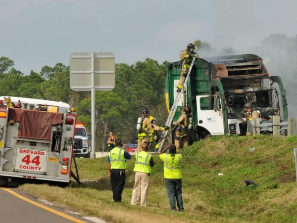 Photos: Garbage truck fire on 1-95