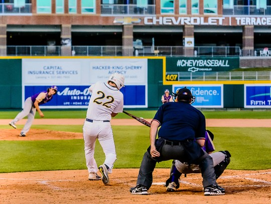 Michael Stygles ,22, of DeWitt drives in 2 runs with a hit deep into left-centerfield in the 6th inning.