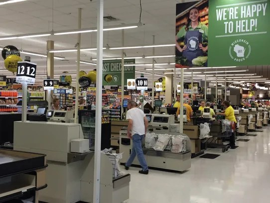 A view of the checkout area inside the newly renovated
