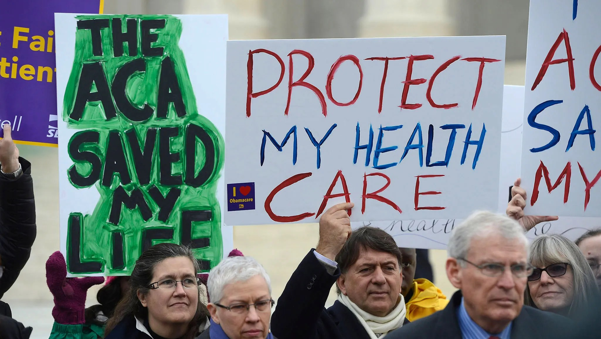 Supporters of the Affordable Care Act demonstrated outside the Supreme Court during oral arguments in 2015.