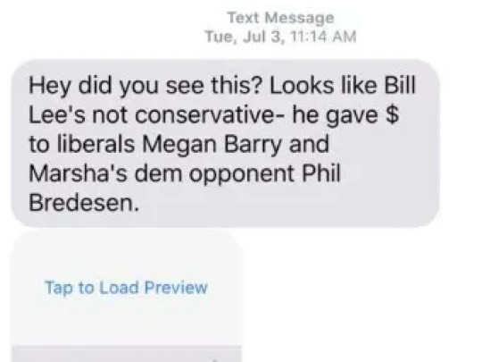 A copy of text messages sent out to Tennesseans as