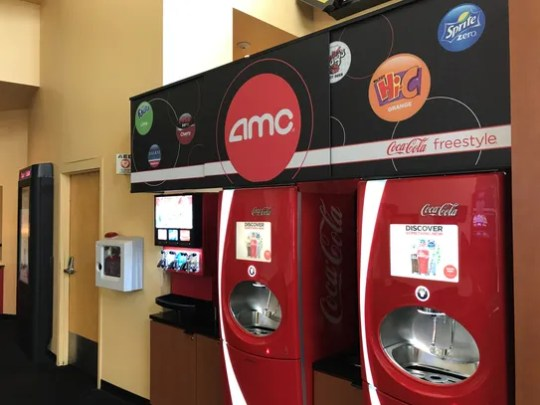 "AMC added ""Coca-cola freestyle"" machines to its newly-aquired"