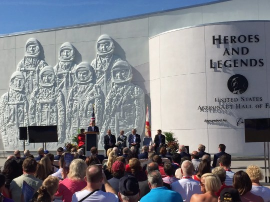 The 2016 grand opening of the Kennedy Space Center Visitor Complex's new Heroes and Legends attraction, featuring the U.S. Astronaut Hall of Fame.