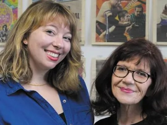 Outgoing NUVO editor Kat Coplen, left, poses with Laura