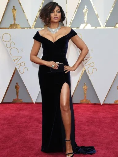 Taraji P. Henson in an off-the-shoulder Alberta Ferretti