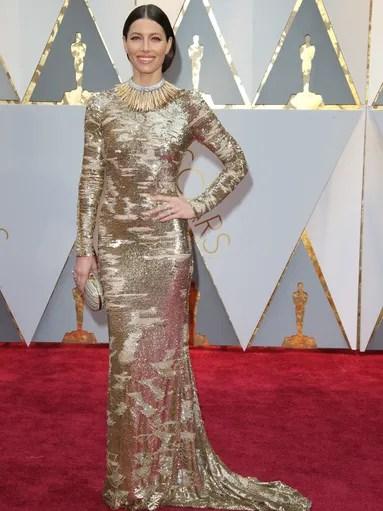 Jessica Biel in her metallic Kaufman Franco gown.