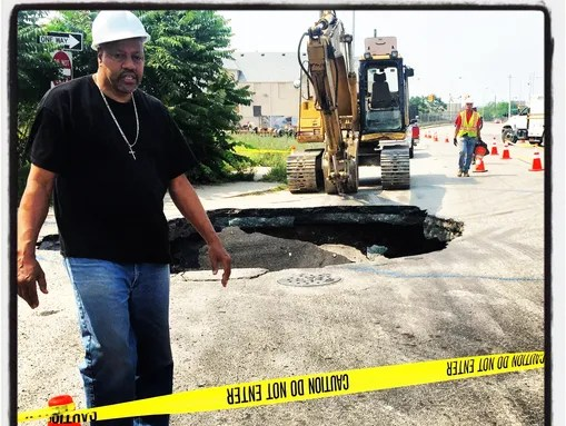 On Detroit's eastside there is a massive sinkhole at