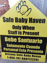 These Arizona Safe Baby Haven Foundation stickers show where moms in distress can turn over a newborn.