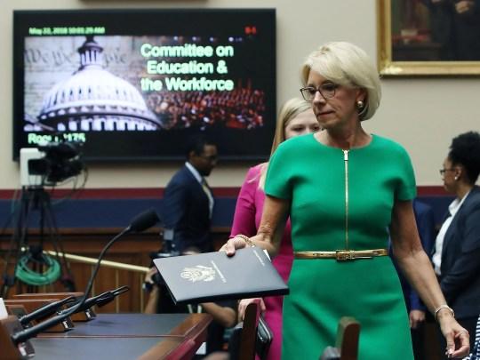 Education Secretary Betsy DeVos arrives to testify on Capitol Hill, May 22, 2018, in Washington, D.C.