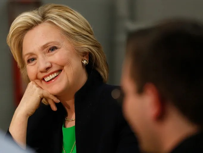 Democratic presidential candidate Hillary Clinton smiles