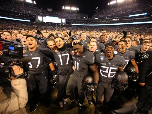 The Army Black Knights and the Cadets celebrate on