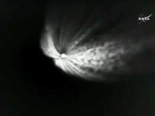 In this still image taken from NASATV, the exhaust