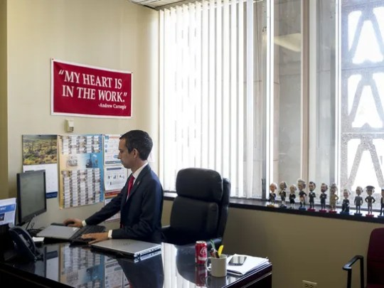 State Sen. Sean Bowie works in his office at the Arizona