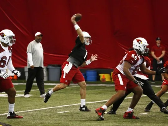 Cardinals quarterback Trevor Knight (1) passes during