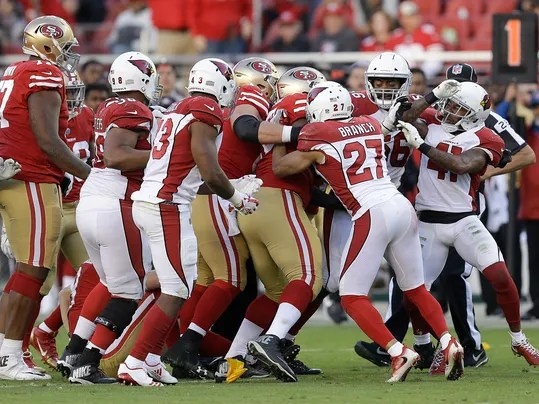 Arizona Cardinals strong safety Antoine Bethea, right, and teammates confront San Francisco 49ers players during the second half of an NFL football game in Santa Clara, Calif., Sunday, Nov. 5, 2017. (AP Photo/Ben Margot)