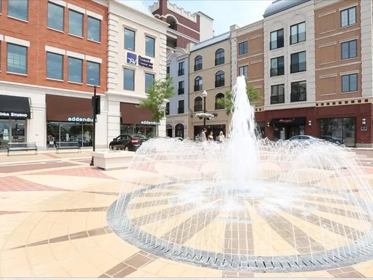 A fountain adds to the ambiance of the Carmel City