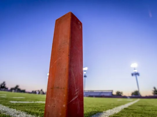An end zone pylon at Hamilton high school on Friday,