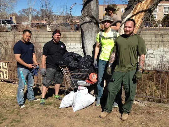 Student veterans collected more than 20 bags of trash