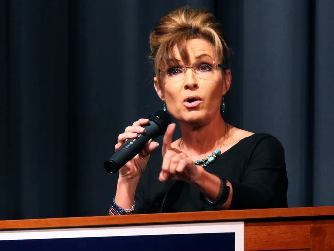 Former Alaska Governor and vice presidential nominee Sarah Palin  appears at a rally for U.S. Senate challenger Chris McDaniel Friday, May 30, 2014 at Jones County Junior College in Ellisville, Miss.  McDaniel is challenging Republican Sen. Thad Cochran.  (AP Photo/George Clark)