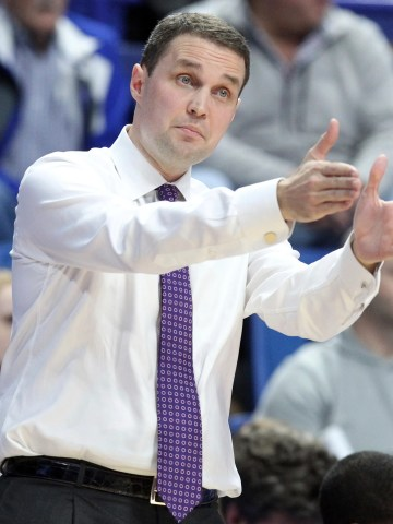 LSU coach Will Wade directs his team during the first