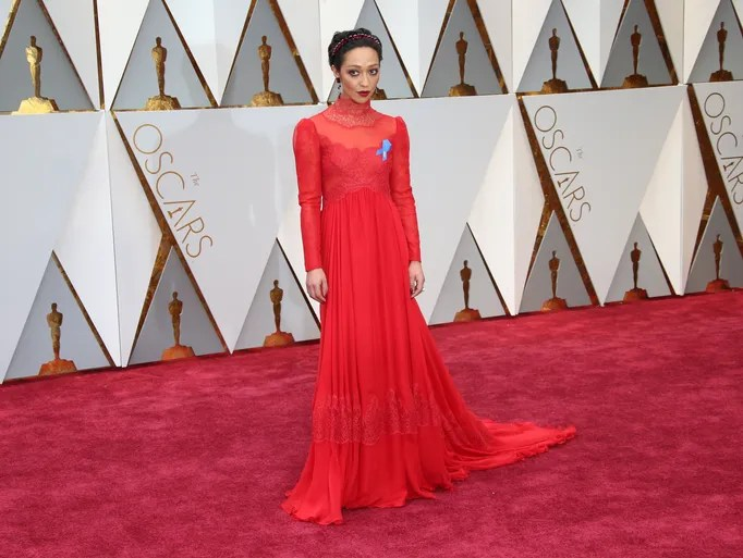 Ruth Negga in a long-sleeved Valentino gown.