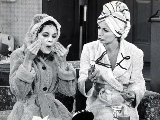 Cindy Williams, left, and Penny Marshall in a scene