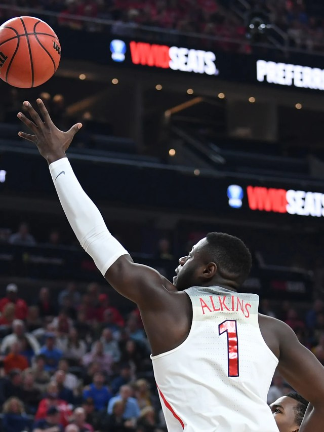 Mar 9, 2018; Las Vegas, NV, USA; Arizona Wildcats guard Rawle Alkins (1) shoots against the UCLA Bruins during a semi-final match of the Pac-12 Tournament at T-Mobile Arena. Mandatory Credit: Stephen R. Sylvanie-USA TODAY Sports