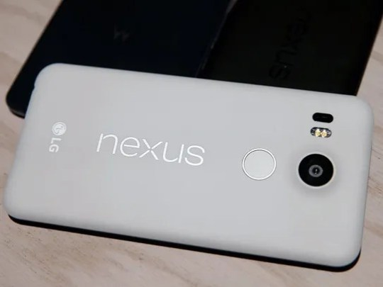 The new Nexus 5X phone is displayed during a Google