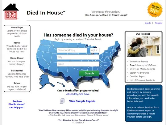Web site finds Death Details.