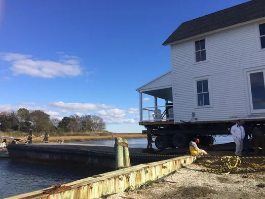 Historic Oyster Store Moved By Barge To Cape Charles