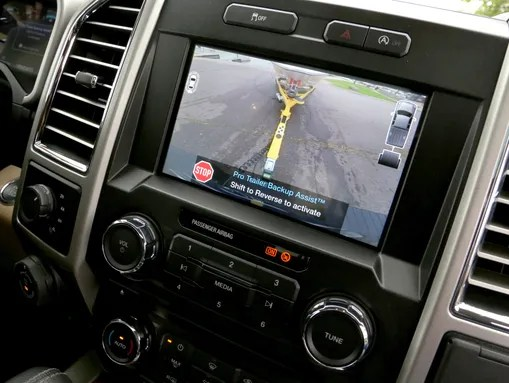 The rear view camera display shows off icons and visual