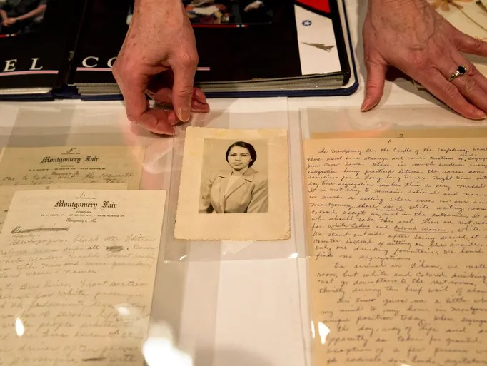 Photographs of Rosa Parks, including this one that