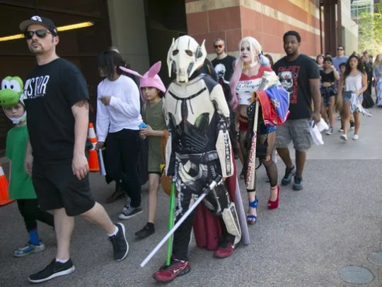 Dressed as General Grievous from Star Wars an individual