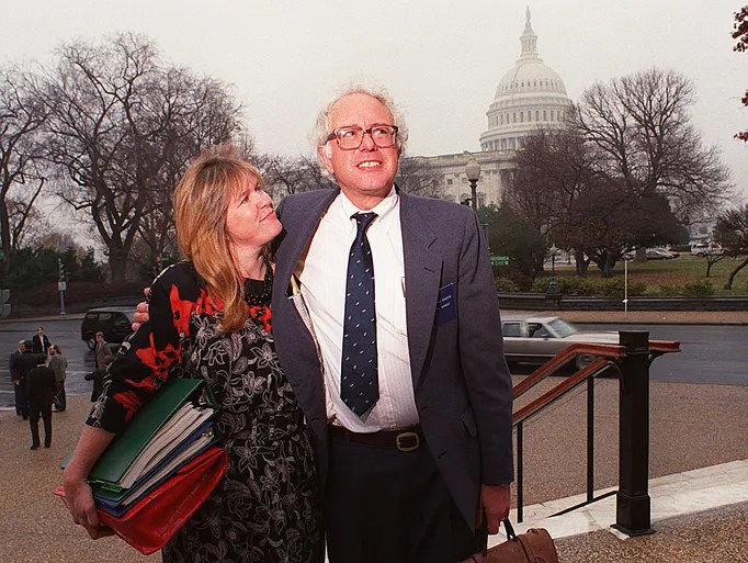 Bernie Sanders and his wife, Jane, in 1990.