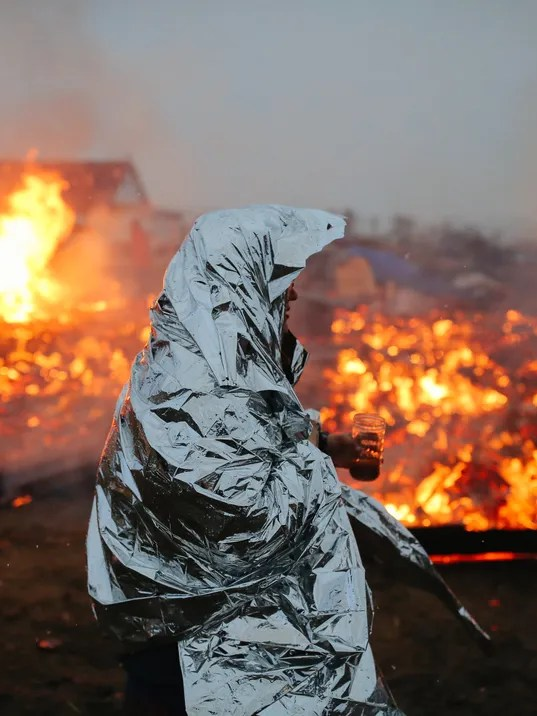 Fires set at protest site. (Getty Image via USA Today)