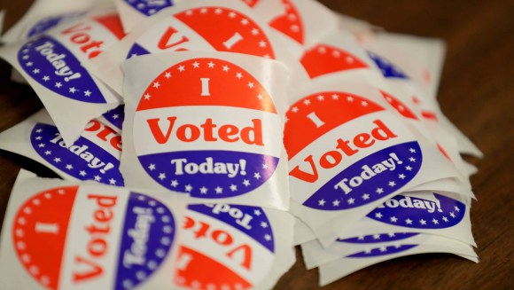 I voted stickers at Franklin City Hall during the August