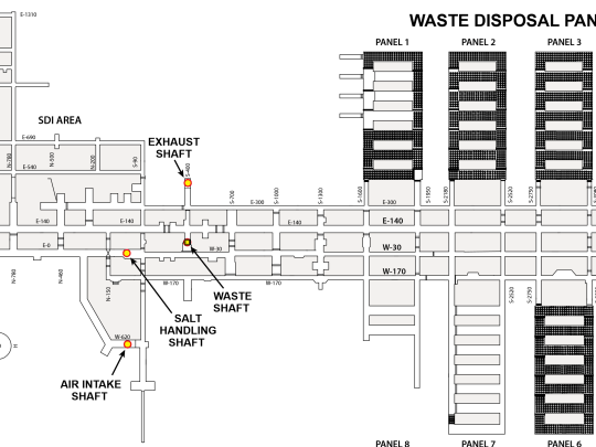 A map of the Waste Isolation Pilot Plant's underground