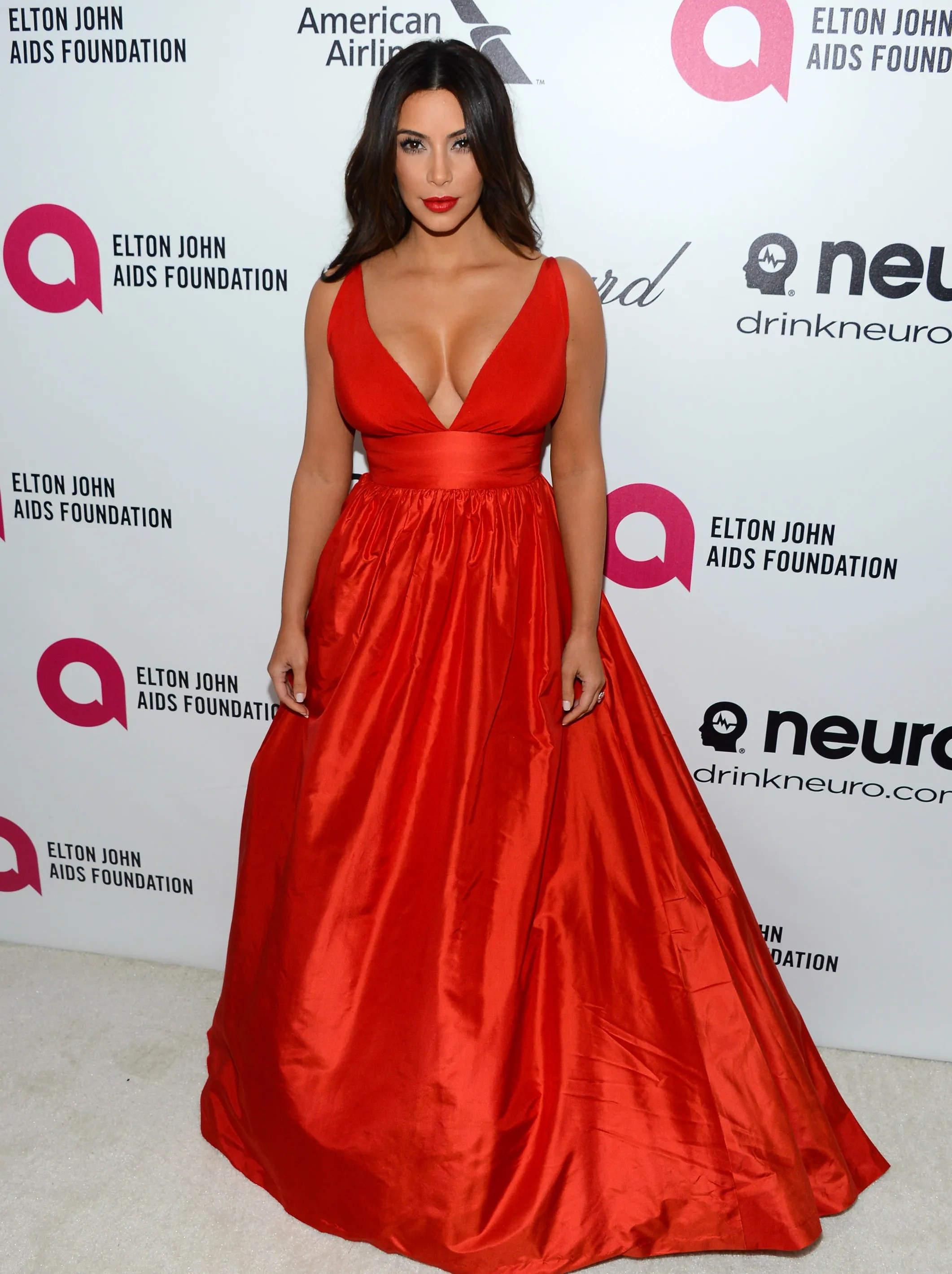 Scarlet woman, indeed. Kardashian steps out on Oscar night to celebrate at Elton John's annual party on March 2, 2014.