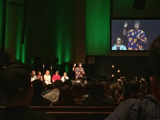 Jake Landon speaks at a memorial service for Keaton