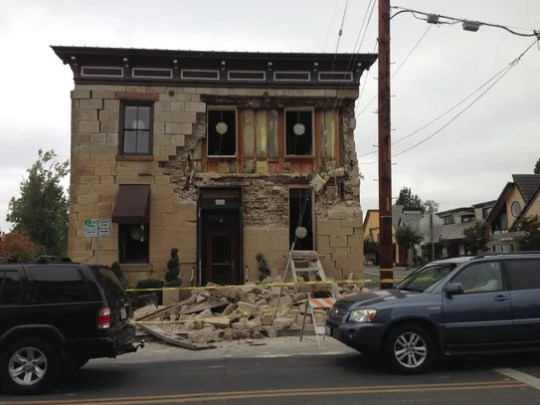 A building destroyed in the earthquake that struck