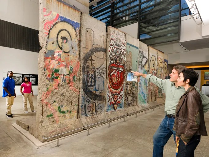 Pieces of Berlin Wall on display at the Newseum in