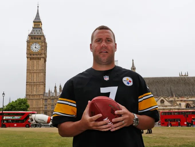 Big Ben poses in front of Big Ben. Yes, Steelers QB Ben Roethlisberger did his share of offseason promotional work in London, including this shot in front of his namesake, to market the league.