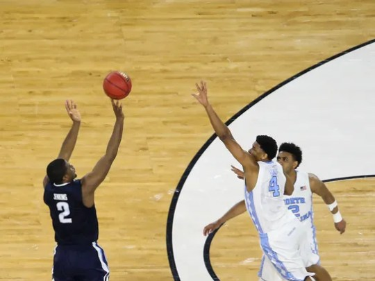 Villanova's Kris Jenkins (2) hits the game-winning