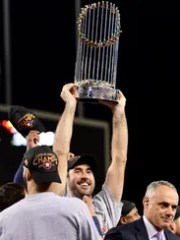 Justin Verlander #35 of the Houston Astros holds the