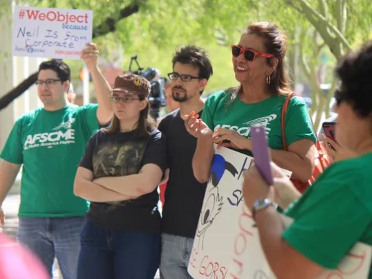 Valley residents gathered outside of the Phoenix Municipal