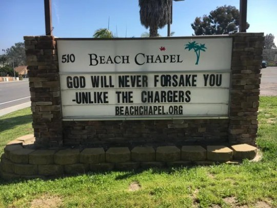 A church in Encinitas, Calif., has a message for Chargers